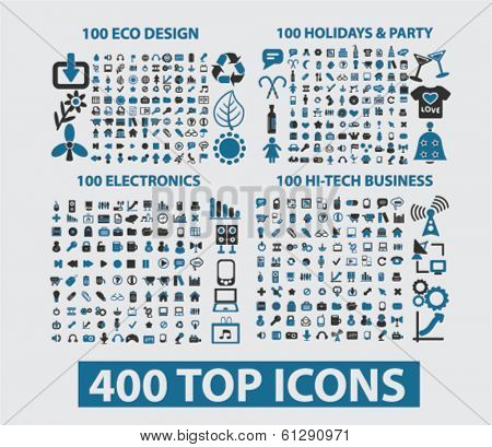 400 icons: website, internet, design, business, office, travel, media, holidays, nature, ecology. vector