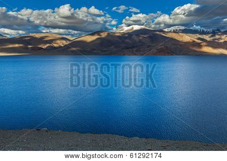 Himalayan mountain lake in Himalayas Tso Moriri on sunset, Korzok, Ladakh, India