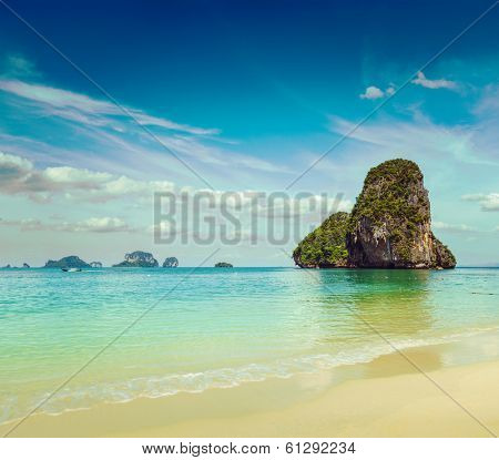 Vintage retro hipster style travel image of Pranang beach. Krabi, Thailand