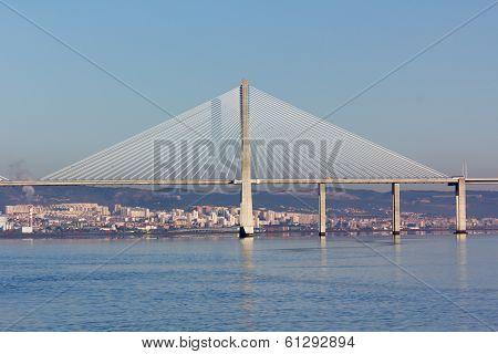 suspension Vasco da Gama Bridge in Lisbon