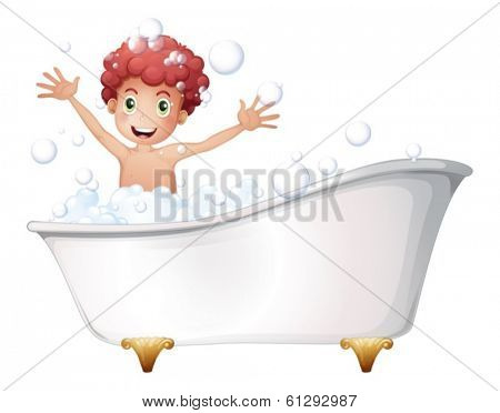 Illustration of a bathtub with a young boy playing on a white background