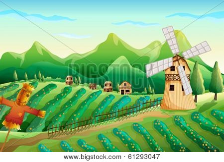 Illustration of a farm with wooden houses and a scarecrow