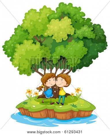 Illustration of an island with a sweet couple on a white background