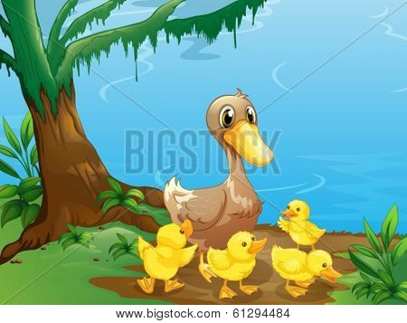 Illustration of a duck and her ducklings at the riverbank