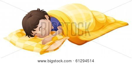Illustration of a young man sleeping soundly on a white background