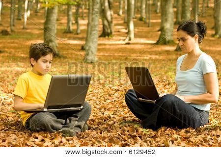 Working Outdoor On Laptop