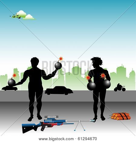 Terrorists preparing bombs