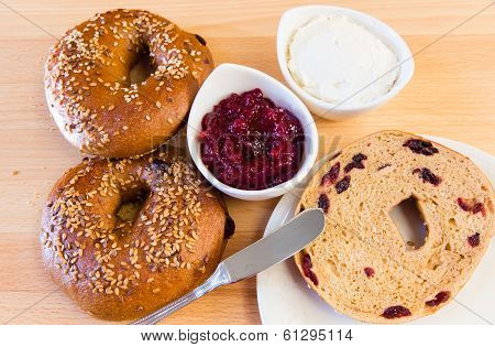 Homemade Whole Grain Bagels With Sesame Seeds And Cranberries.