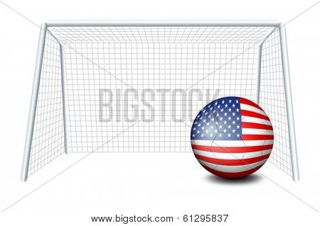 Illustration of a soccer ball near the net with the flag of the United States on a white background