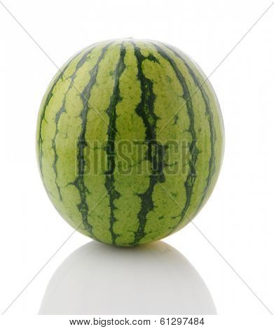 Closeup of a whole mini seedless watermelon on a white surface with reflection. Vertical Format.