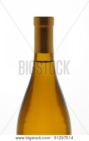 Closeup of a Chardonnay wine bottle isolated over white. Top half of bottle only.