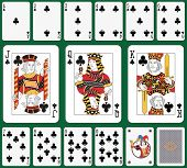 Playing cards club suit, joker and back. Faces double sized. Green background in a separate level in