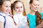 picture of pre-adolescent girl  - girl in the school - JPG