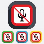 No Microphone icon. Speaker symbol. Live music.