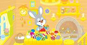 stock photo of cony  - Rabbit coloring Easter eggs to the holiday in his kitchen - JPG