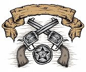 stock photo of texas star  - A weathered banner of western guns star badge - JPG