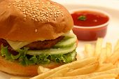 stock photo of veggie burger  - A veggie burger is a hamburger - JPG