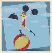stock photo of strongman  - Illustration of a strongman with a mustache and weights - JPG