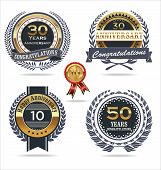 stock photo of laurel  - Anniversary golden labels with laurel wreath vector illustration - JPG