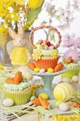 image of cake stand  - Easter basket cupcake on a stand - JPG