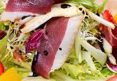 pic of duck breast  - Salad with smoked duck breast cloce up - JPG