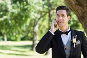 Young groom using cellphone in garden
