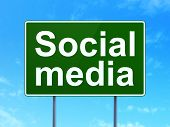 Social media concept: Social Media on road sign background