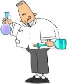 foto of mad scientist  - This illustration depicts a scientist holding two glass beakers of bubbling chemicals - JPG