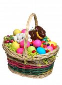 stock photo of easter candy  - Easter Basket full of Easter Treats - JPG