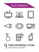 Electronics thin line icon set - 9 computer symbols for your flat design