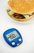 Glucometer And Hamburger. Healthy Lifestyle