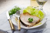 foto of swordfish  - roasted swordfish and salad - JPG