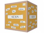 Auction 3D Cube Corkboard Word Concept