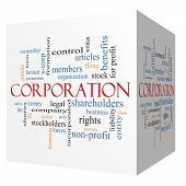 stock photo of corps  - Corporation 3D cube Word Cloud Concept with great terms such as shareholders legal entity and more - JPG