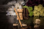 foto of midget  - Concept family making a excursion wine cork figures - JPG