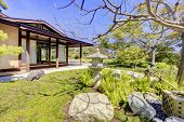 foto of early spring  - Japanese garden in San Diego early spring bloom with the house - JPG