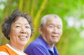 stock photo of mating  - asian happy asian Senior couple in the park - JPG