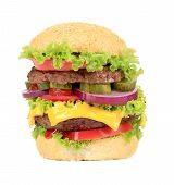 Big appetizing fast food hamburger.