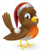 stock photo of robin bird  - An illustration of a Christmas Robin bird in a Santa hat - JPG