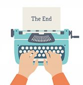 image of typewriter  - Flat design style modern vector illustration concept of author hands typing on a manual vintage stylish typewriter and the end of story title text on a paper page - JPG