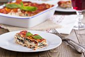 stock photo of lasagna  - Vegan lasagna with tofu - JPG