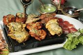 stock photo of kababs  - Mixed Kebab refers to a variety of meat dishes in Indian and South Asian cuisines - JPG