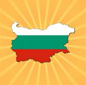 Bulgaria map flag on sunburst vector illustration