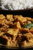 stock photo of paneer  - Close up Top view. Paneer korma is rich gravy made with cottage cheese and spices.