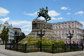 picture of hetman  - Monument to Hetman Bogdan Khmelnitsky on Sofia square in Kiev Ukraine - JPG