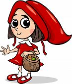 stock photo of little red riding hood  - Cartoon Illustration of Cute Little Red Riding Hood Fairy Tale Character - JPG