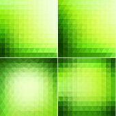 Abstract green geometric backgrounds set  - raster version