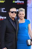 LOS ANGELES - MAR 11:  Ricky Gervais, Jane Fallon at the premiere of Disney's 'Muppets Most Wanted'