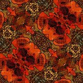 art nouveau ornamental vintage pattern in red, brown and green colors with stylized poppies