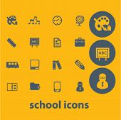 school, teaching icons set, vector